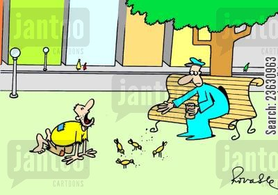 bird seed cartoon humor: Beggar