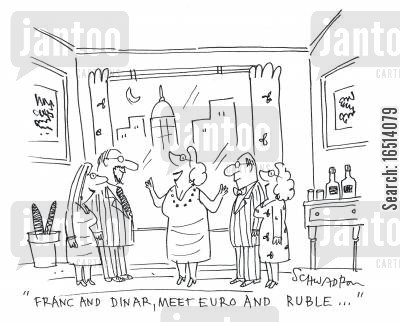 dinar cartoon humor: 'Franc and Dinar, meet Euro and Ruble...'