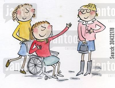 mobility cartoon humor: Lady in wheelchair with friends.
