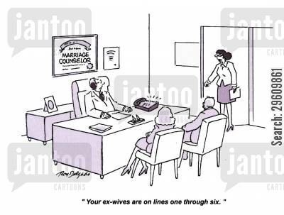 ex wife cartoon humor: 'Your ex-wives are on lines one through six.'