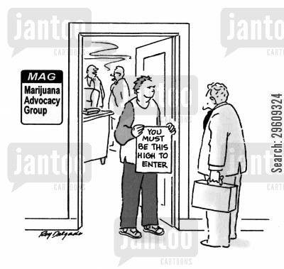 policy cartoon humor: You must be this high to enter.