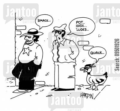 drug pusher cartoon humor: Smack... Quack...