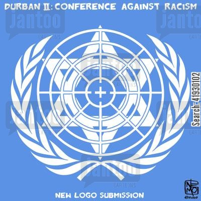 racism cartoon humor: Conference Against Racism logo.