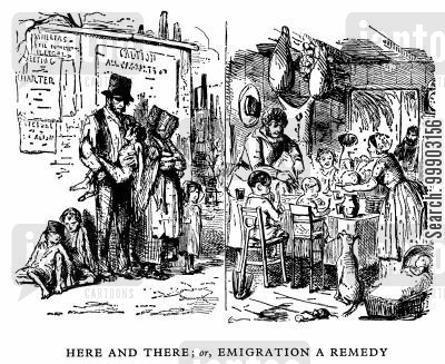 poverty cartoon humor: Emigration as a Solution to Working Class Poverty, Chartism and Socialism