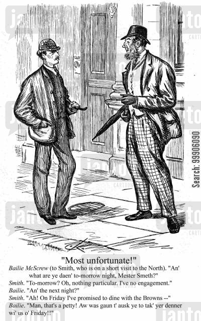 victorian gentlemen cartoon humor: An Englishman and a Scotsman.