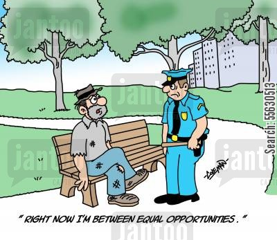job opportunities cartoon humor: Bum Between Equal Opportunities