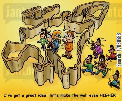 immigrating cartoon humor: Higher walls around the EU.