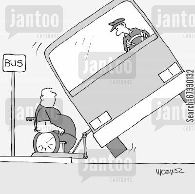 lifts cartoon humor: Too heavy for the bus.