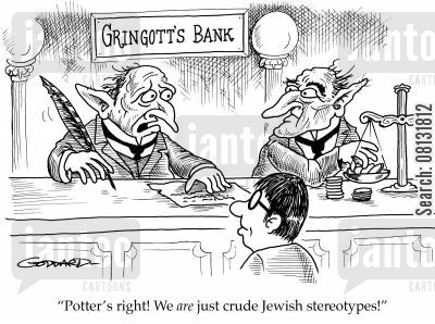 antisemitism cartoon humor: 'Potter's right! We are just crude Jewish stereotypes!'