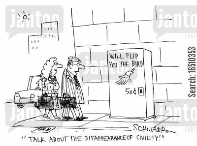 disappearance cartoon humor: Will Flip You the Bird: 50c. 'Talk about the disappearance of civility.'