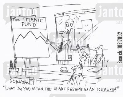 sank cartoon humor: 'What do you mean, the chart resembles an iceberg?'