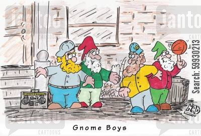 ganster cartoon humor: Gnome Boys - in da hood!