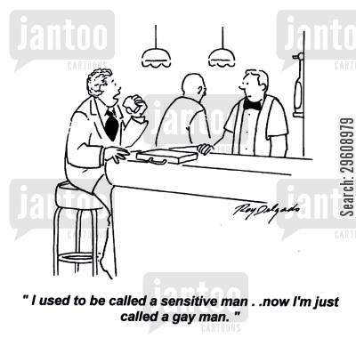 heterosexual cartoon humor: 'I used to be called a sensitive man... now I'm just called a gay man.'