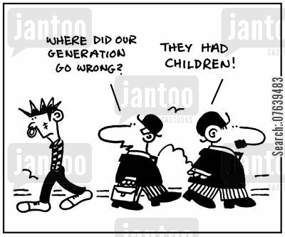 generation gaps cartoon humor: 'Where did our generation go wrong? They had children.'