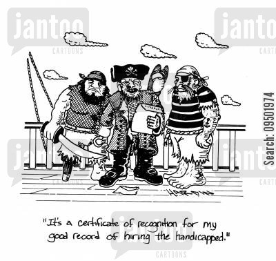 handicapped worker cartoon humor: 'It's a certificate of recognition for my good record of hiring the handicapped.'