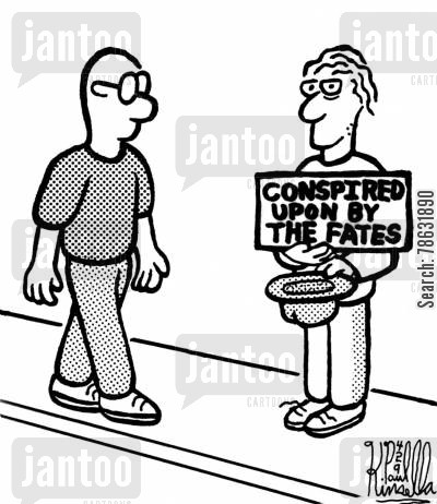 scapegoating cartoon humor: Conspired upon by the fates.