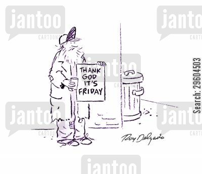 thank cartoon humor: Thank God it's Friday.
