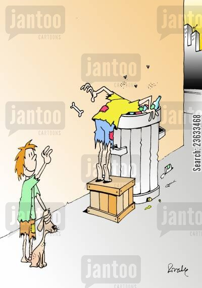 rubbish bins cartoon humor: Boy Tosses A Bone To A Homeless Man