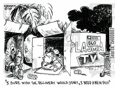 recovered cartoon humor: 'I sure wish the recovery would start, I need a new box.'