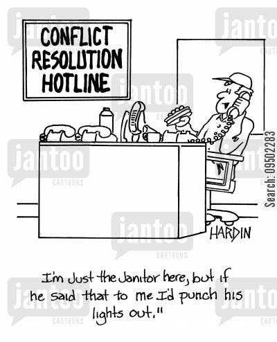 caretakers cartoon humor: 'I'm just the janitor here, but if he said that to me I'd punch his lights out.'