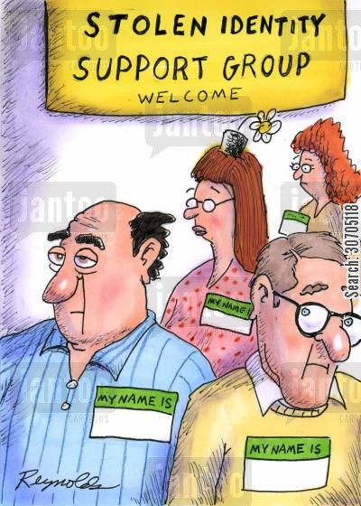 thieve cartoon humor: Stolen Identity Support group