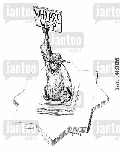 national icons cartoon humor: Statue of Liberty holds a sign up reads: Who are We?