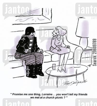 meet cartoon humor: 'Promise me one thing, Lorraine.. you won't tell my friends we met at a church picnic?'