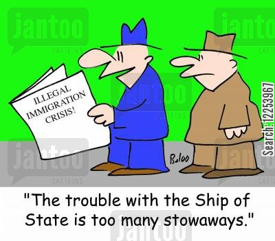 immigrating cartoon humor: The trouble with the Ship of State is too many stowaways.
