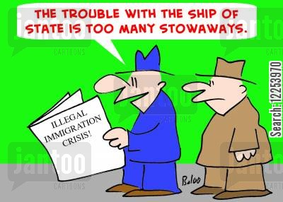 stowaways cartoon humor: 'The trouble with the Ship of State is too many stowaways.'
