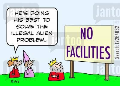 illegal aliens cartoon humor: NO FACILITIES, 'He's doing his best to solve the illegal alien problem.'