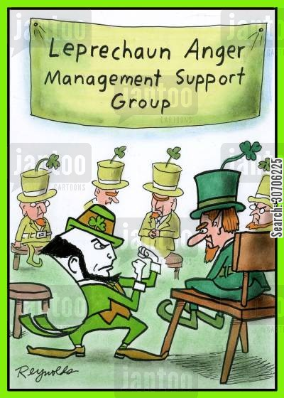 antagonism cartoon humor: 'Leprechaun Anger Management Support Group.'