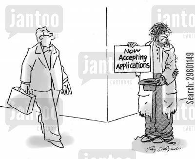 job ad cartoon humor: Now accepting applications.