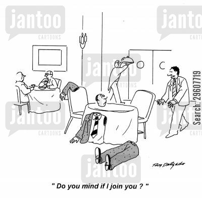armless cartoon humor: 'D you mind if I join you?'