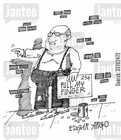 funny man cartoon humor: Pull My Finger.