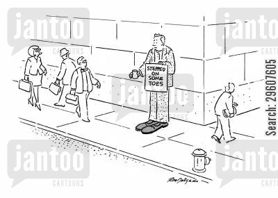 stepping cartoon humor: Stepped on some toes.