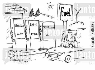 craving cartoon humor: Fuel Station - The pumps read: Espresso, latte, cappuccino.