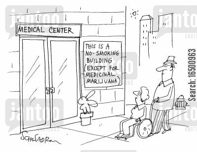 medicinal drug cartoon humor: Sign reads This is a no-smoking building (except for medicinal marijuana).