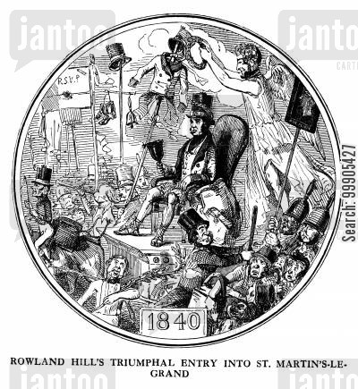 sir rowland hill cartoon humor: Rowland Hill's Postal Reform - 1840