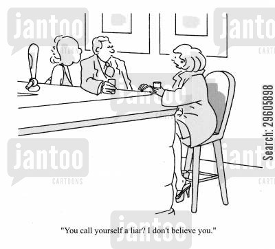 brags cartoon humor: 'You call yourself a liar? I don't believe you.'