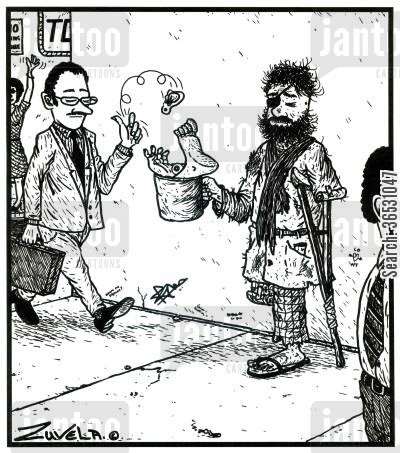 amputee cartoon humor: Amputee panhandling for limbs.