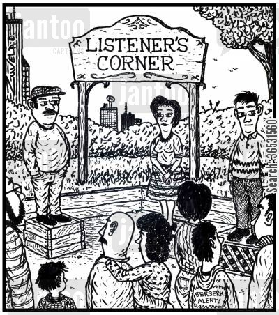 soap box cartoon humor: Listener's Corner.