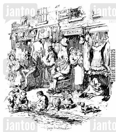 c dickens cartoon humor: Sketches by Boz - Monmouth Street