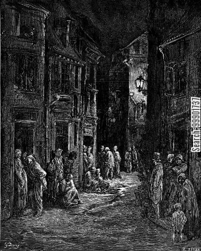 victorian slum cartoon humor: Slum life in Bluegate Fields, Shadwell