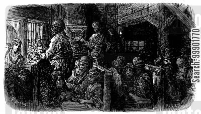 victorian slum cartoon humor: Boarding House Kitchen