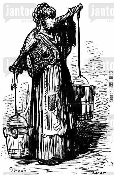 Poor Woman Carrying Water