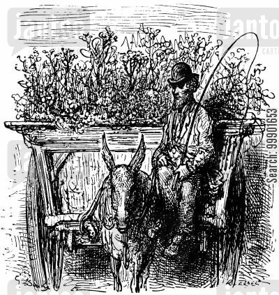 victorian working classes cartoon humor: Flower Hawker in his Cart