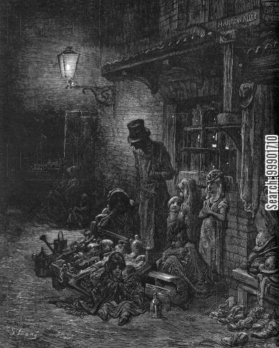 victorian slum cartoon humor: Houndsditch- Humble Industries