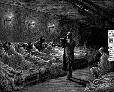 victorian smithfield cartoon humor: 'Scripture Reader in a Night Refuge'