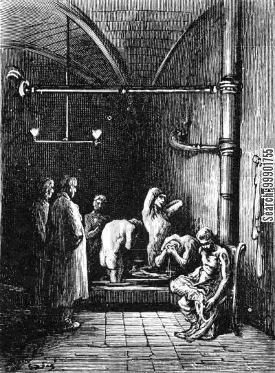 victorian smithfield cartoon humor: Washroom at the Night Refuge