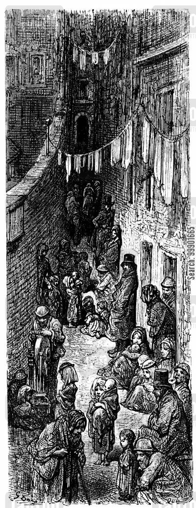 victorian working classes cartoon humor: Alleyway in Slum District
